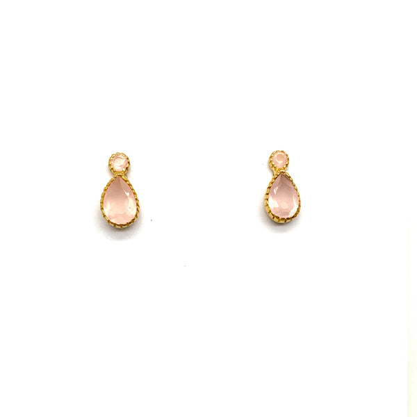 Rose Quartz Droplet Studs