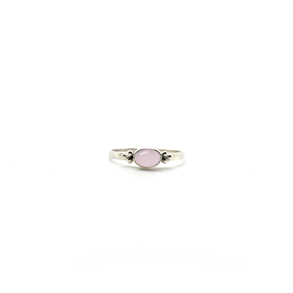 Tiny Rose Quartz Oval Triquetra Silver