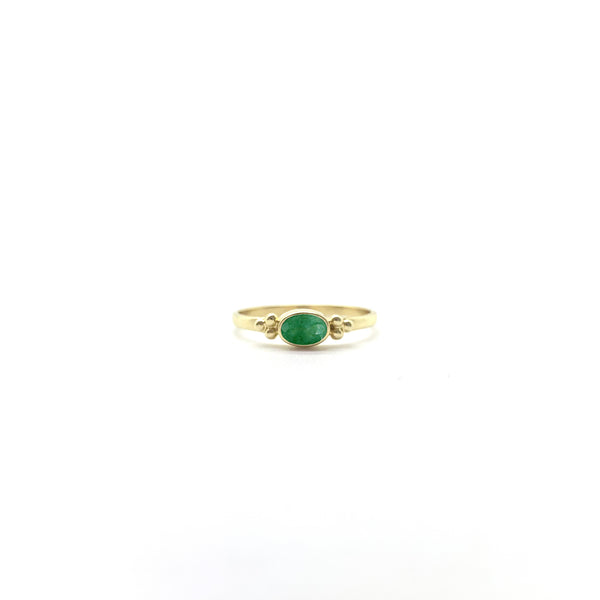 Tiny Facet Emerald Oval Triquetra