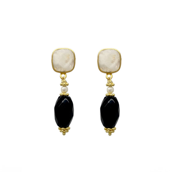 Moonstone Onyx Drop Earrings