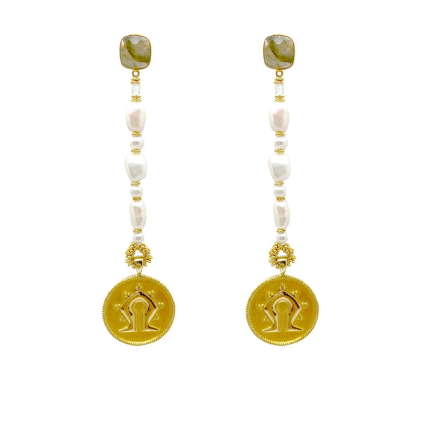 Long Pearl Mamuli Drop Earrings <p><b> - LIMITED EDITION - </b></p>