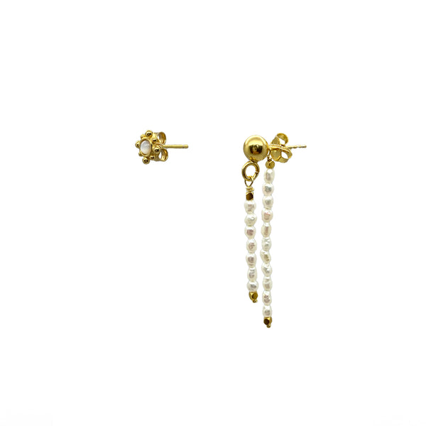Freshwater Pearl Drop Earring and Mother of Pearl Sun