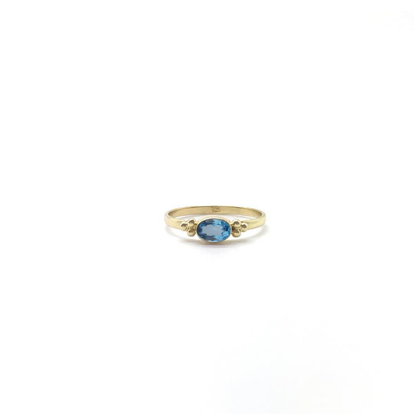 Tiny Facet Swiss Blue Topaz Oval Triquetra
