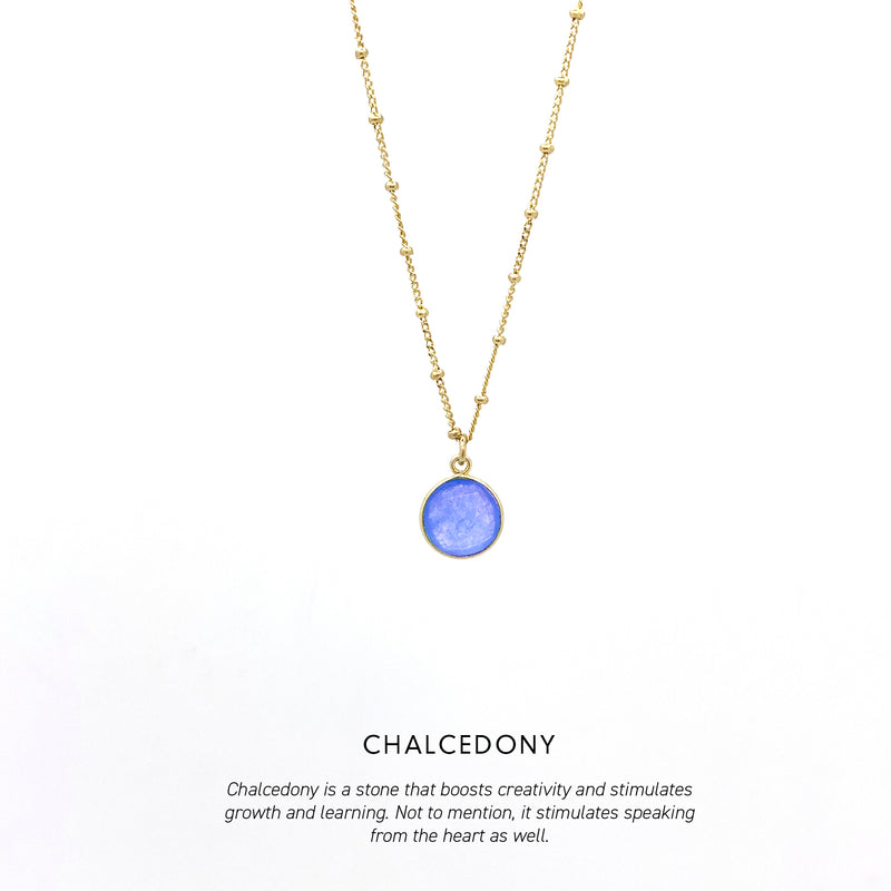 Circle Gem Necklace Gold <p><b> +4 colours </b></p>