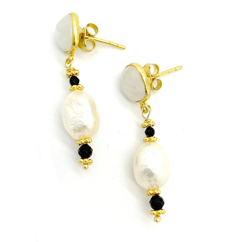 Moonstone Pearl Drop Earrings