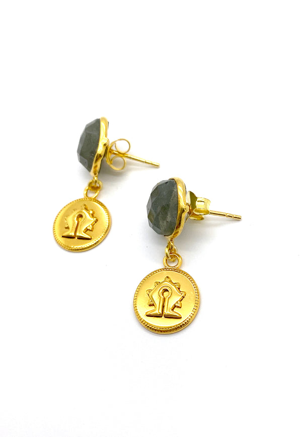 Labradorite Mamuli Coin Earrings
