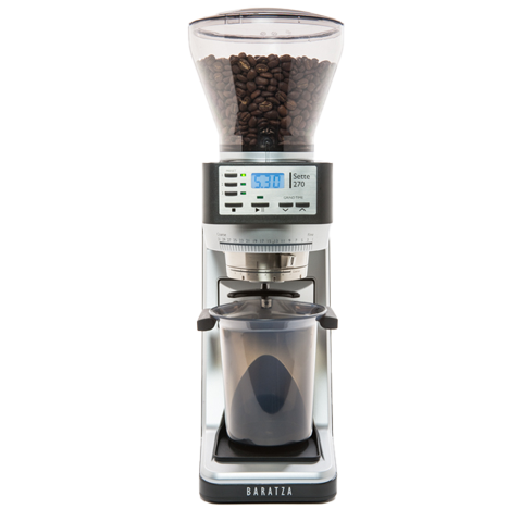 Baratza Sette 270  is a black and metal colored grinder with a conical shaped transparent bean hopper at the top.