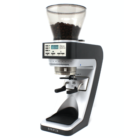Baratza Sette 270 wi is a black and silver colored grinder with a conical shaped transparent bean hopper at the top.