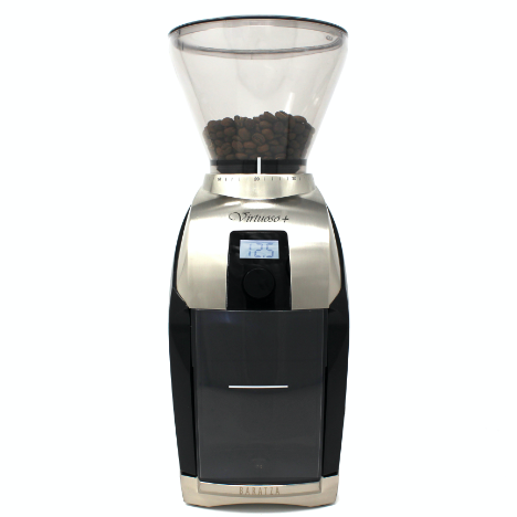 Baratza Virtuoso + has a steel body at the top and base and black body at the center with a digital reading.