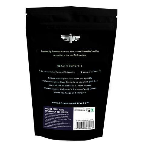 Colombian Brew 80-20 Arabica Robusta Roasted Coffee Beans 1kg - Somethings Brewing Store