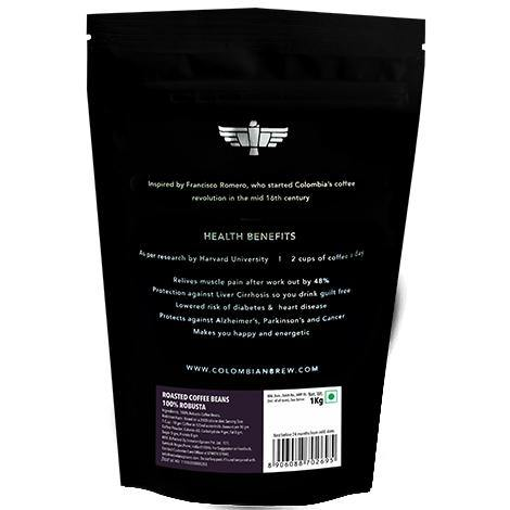Colombian Brew 100% Robusta Roasted Coffee Beans 1kg - Somethings Brewing Store