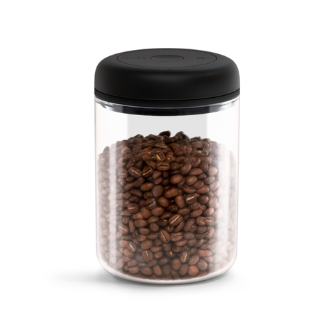 Fellow Atmos Vacuum Canister is a transparent  Borosilicate glass storage cannister with a capacity of 1200ml.