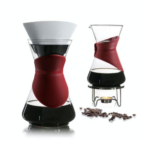 Finum Bloom and Flow Drip Coffee Set is hour glass shaped made with borosilicate glass and red colored silicon collar.