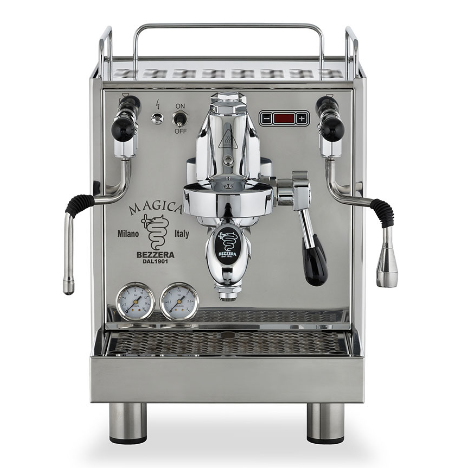 Bezzera Magica S Pid is a coffee machine made of polished stainless steel with 2L copper boiler with heat exchanger . It has both single and double handles(with baskets).