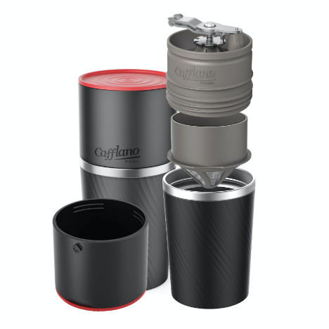 Cafflano Klassic - All in One Coffee Maker made from stainless steel with a black silicone top-layer and a red lid.