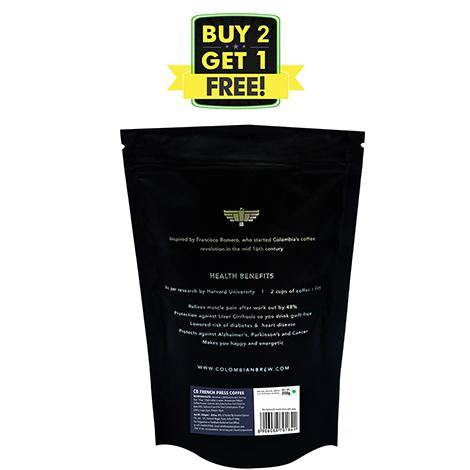 Colombian Brew Arabica French Press Coffee 250gm, Buy 2 Get 1 Free - Somethings Brewing Store