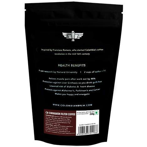 Colombian Brew Cinnamon Filter Coffee,Arabica Roast & Ground, 250g - Somethings Brewing Store