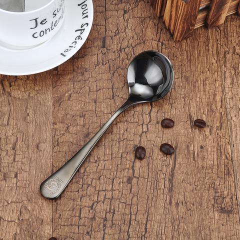 Barista Space Cupping Spoon Black/Rose Golden - Somethings Brewing Store