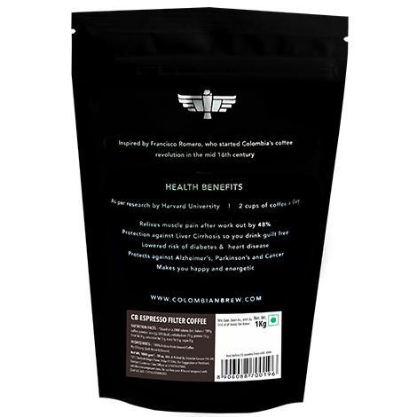Colombian Brew Arabica Espresso Filter Coffee, Roast & Ground Strong, 1kg - Somethings Brewing Store