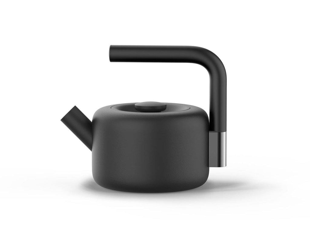 Fellow Clyde Stovetop Tea kettle is a black-colored kettle with a stainless steel body and silicon handle of capacity 1.7L.