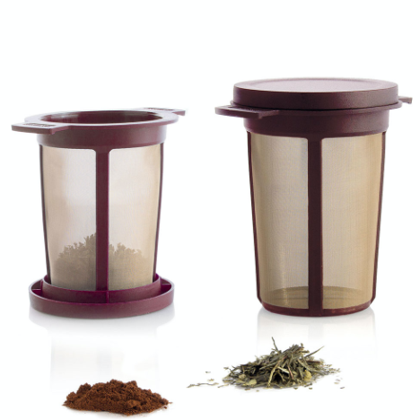 Finum Tea and Coffee Brewing Basket is red colored stainless steel filter.