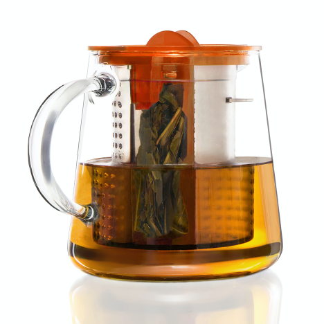 Finum Glass Tea Brewing Pot with orange lid having a capacity of 800ml.