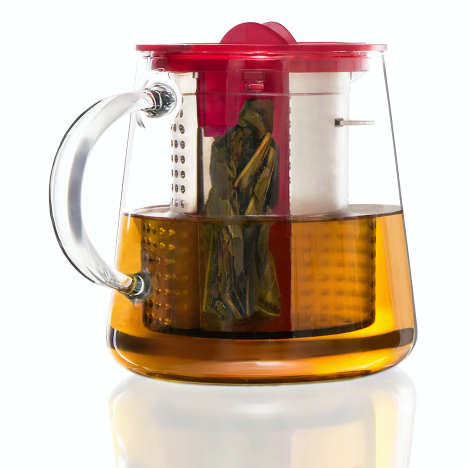 Finum Glass Tea Brewing Pot with pink lid having a capacity of 800ml.