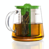 Finum Glass Tea Brewing Pot with green lid having a capacity of 800ml.