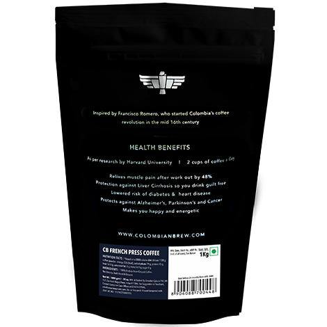 Colombian Brew French Press Coffee, Arabica Roast & Ground, 1kg - Somethings Brewing Store