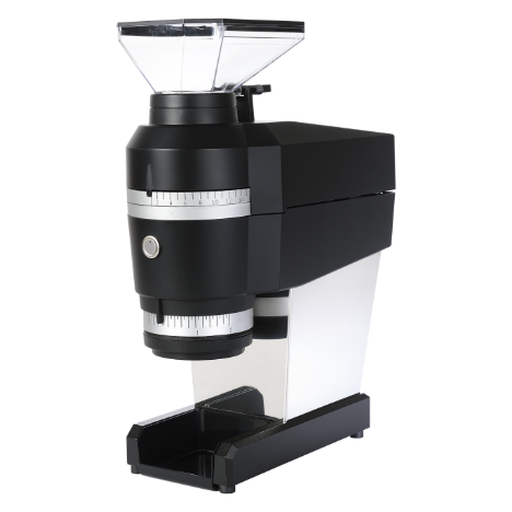 La Marzocco Swift Mini comes with a black and white body and a conical shaped hopper at the top.