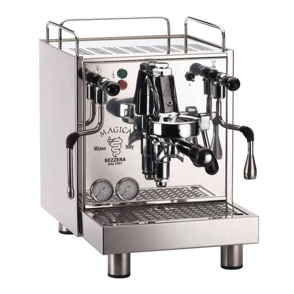 Bezzera Magica S coffee machine is a silver color machine made of polished stainless steel and it's copper boiler's capacity is 2L.