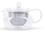 Hario Fukami Tea Pot with heat resistant glass body and a stainless steel filter has a capacity of 450ml.