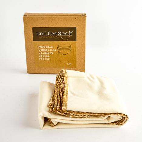 Coffeesock Toddy Commercial is a resuable GOTS Certified Organic Cotton filters. I gets fit into any container.