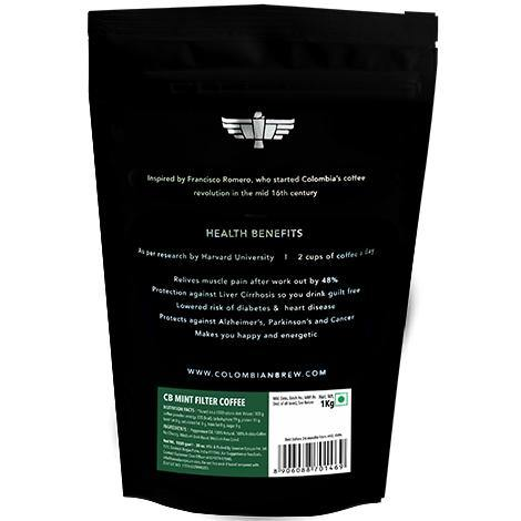 Colombian Brew Mint Filter Coffee, Arabica Roast & Ground, 1kg - Somethings Brewing Store