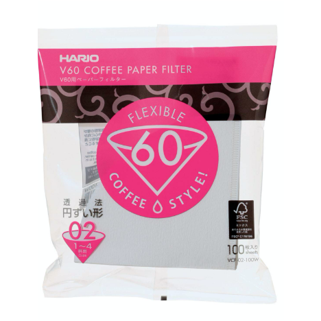 Hario Filters Bleached are white colored conical shaped filters comes with 100 units in a pack. size 1-4 cups.