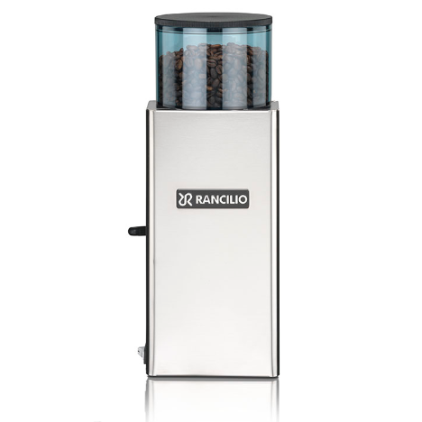 Rancilio Rocky Coffee Grinder - Doser made of metal body and blue colored transparent hopper.