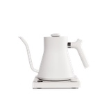 Fellow Stagg EKG is a white-colored electric kettle with variable temperature control and has a capacity of 900ml.