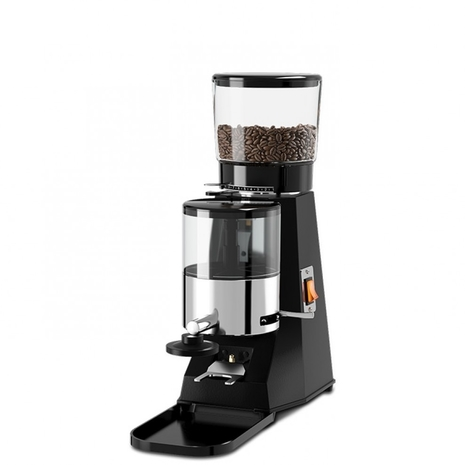 Anfim Best Coffee Grinder - Doser has a complete black color body with a doser and a transparent hopper at the top.