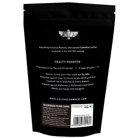 Colombian Brew Arabica Espresso Filter Coffee, Roast & Ground Strong, 250g - Somethings Brewing Store