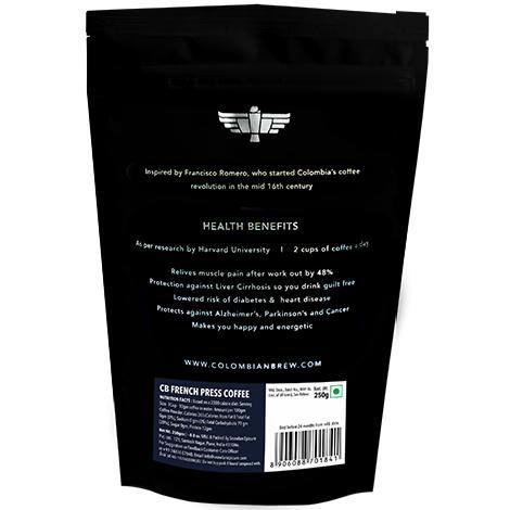 Colombian Brew Arabica French Press Coffee, Dark Roast Strong, 250g - Somethings Brewing Store
