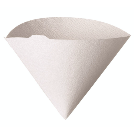 Hario Filters Bleached are white colored conical shaped filters comes with 100 units in a pack. size 1-2 cups.