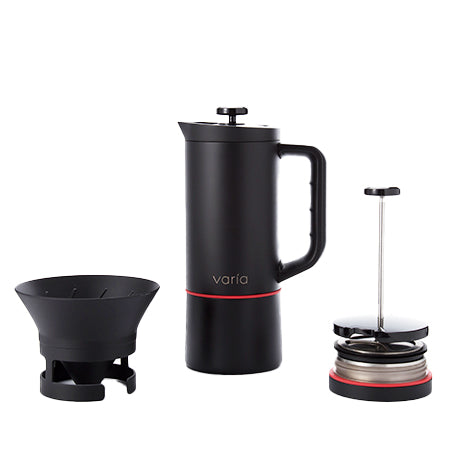 Varia Multi Brewer with a black-colored body, Silicon handle and stainless steel twin wall server.