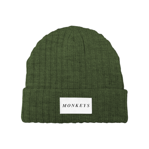 MONKEYS WIDE RIB OLIVE BEANIE
