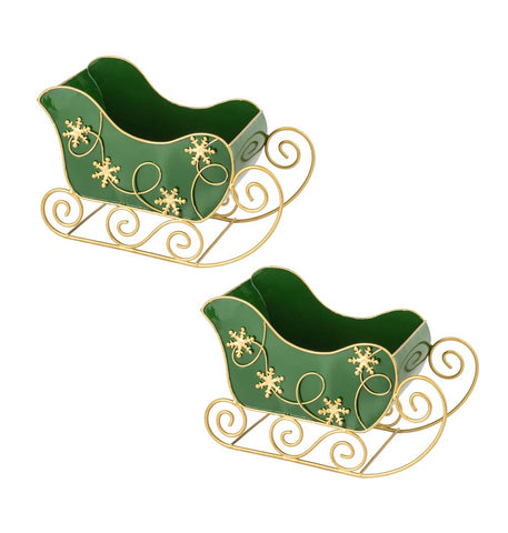 Mini Green Metal Sleigh - Set of 2