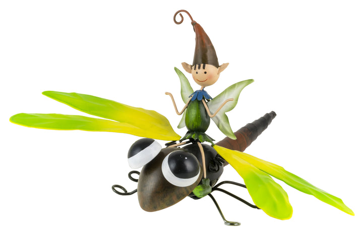 Pedro the Garden Pixie flying a Dragonfly