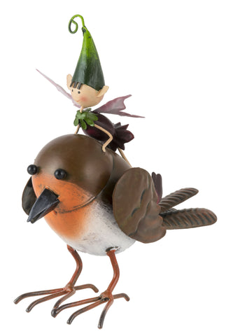 Pete the Garden Pixie flying a Robin
