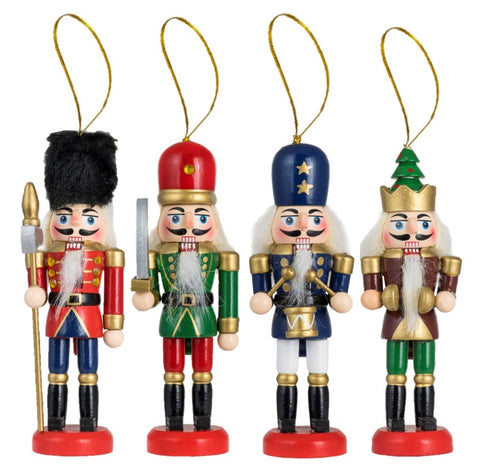 Traditional Wooden Nutcracker Tree Decs (Set of 4)
