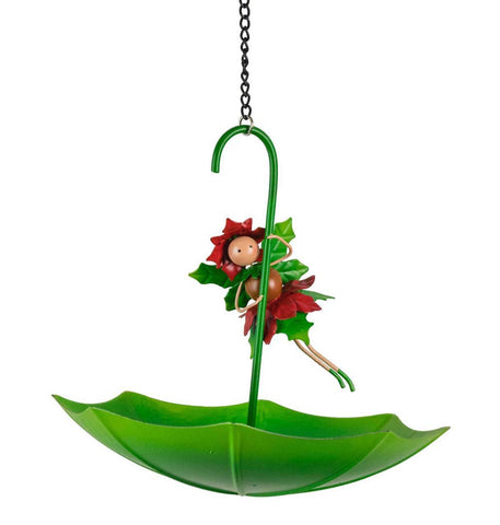 Pandora The Poinsettia Christmas Fairy Umbrella Bird Feeder
