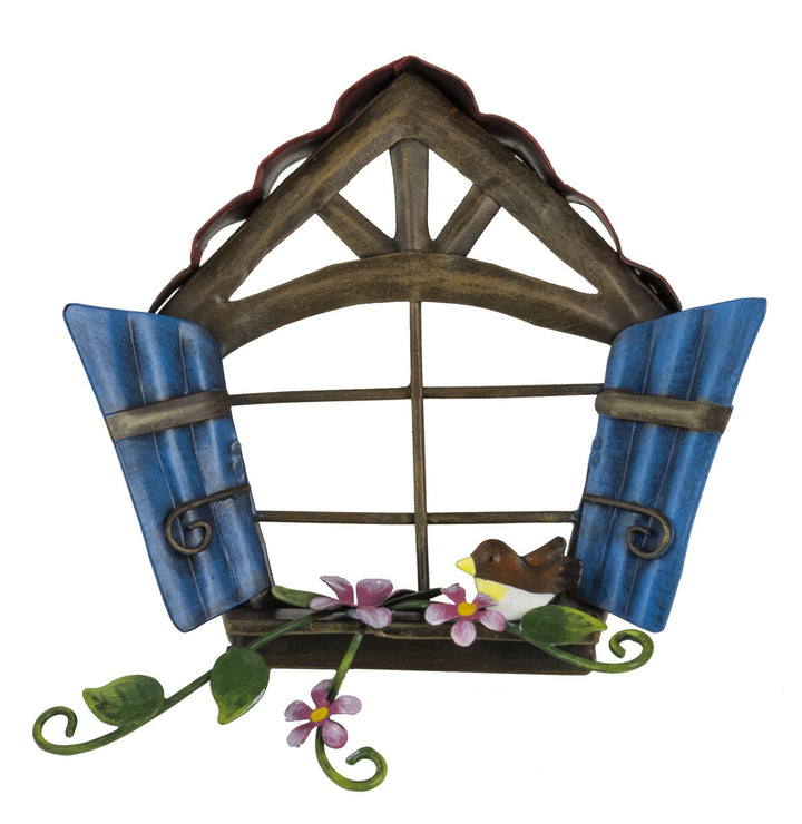 Pixie Window - Blue Wooden Shutters