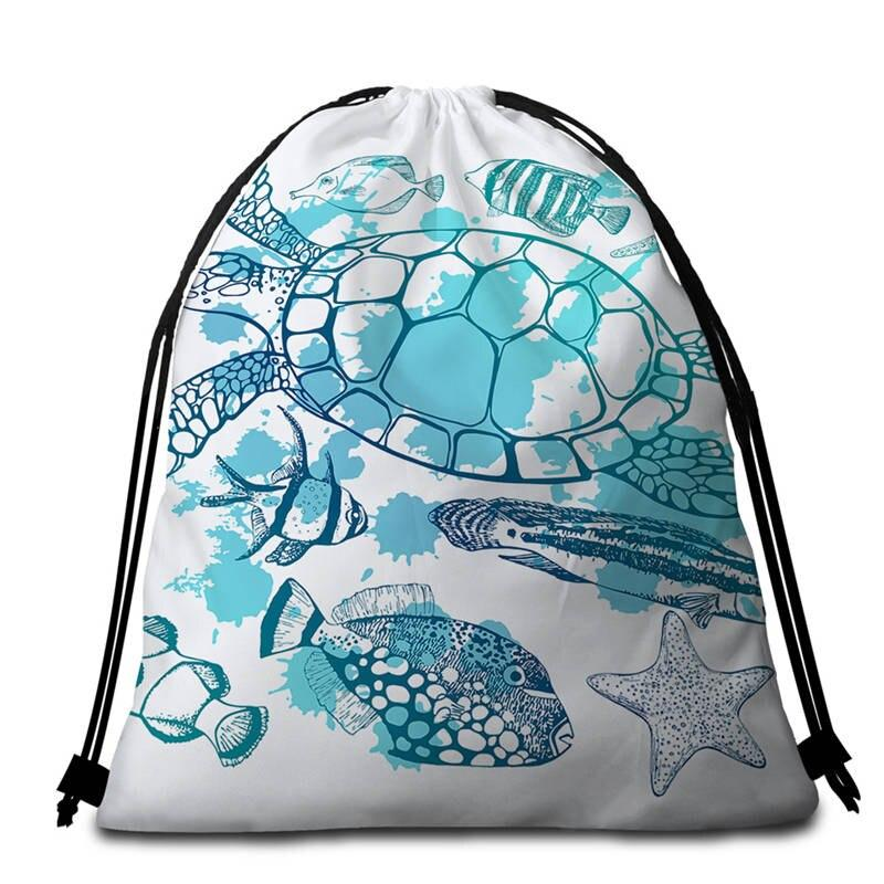 Sac Cordelette Tortue Animaux Marins